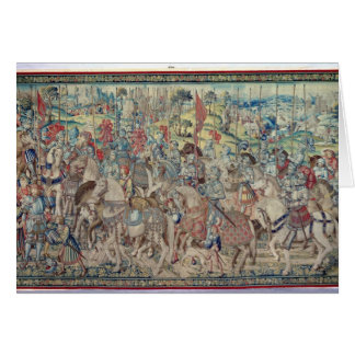 Assembling the Riders, from the tapestry of 'David Card