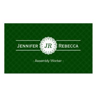 Assembly Worker - Modern Monogram Green Pack Of Standard Business Cards