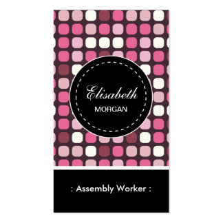 Assembly Worker- Pink Polka Pattern Pack Of Standard Business Cards