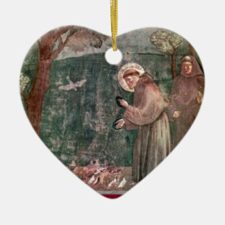 Assisi, St Francis and the birds Ceramic Heart Decoration
