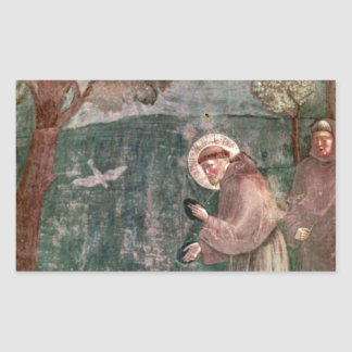 Assisi, St Francis and the birds Rectangular Sticker
