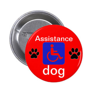assistance dog disabled symbol with paws 6 cm round badge