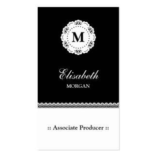 Associate Producer Black White Lace Monogram Pack Of Standard Business Cards