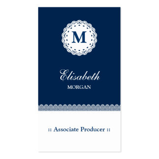 Associate Producer Blue White Lace Monogram Pack Of Standard Business Cards