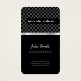 Associate Producer - Elegant Black Chessboard Business Card