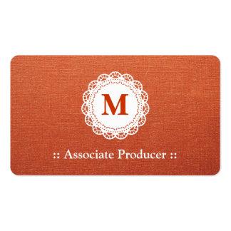 Associate Producer - Elegant Lace Monogram Pack Of Standard Business Cards