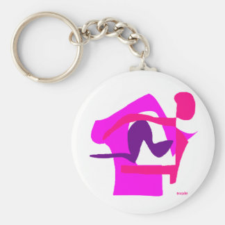 Assorted Abstracts Basic Round Button Key Ring