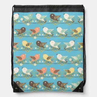 Assorted birds pattern drawstring bag