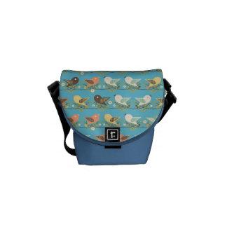Assorted birds pattern messenger bag