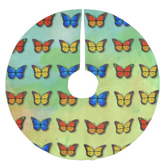 Assorted butterflies pattern brushed polyester tree skirt
