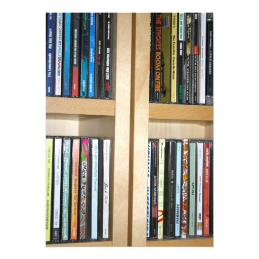 Assorted CD's on a Shelving Unit Card Custom Invitation