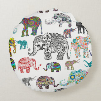 Assorted Colourful Floral Elephants Pattern Round Cushion