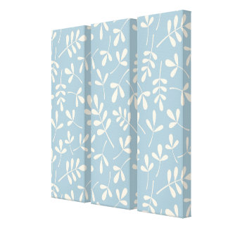 Assorted Cream Leaves on Blue Pattern Gallery Wrapped Canvas