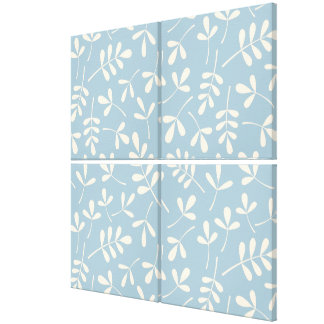 Assorted Cream Leaves on Blue Pattern Canvas Prints