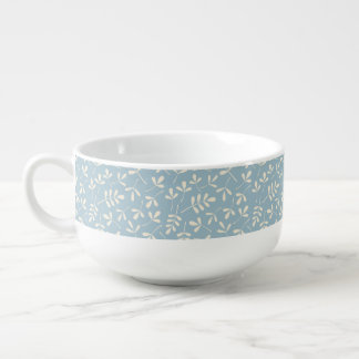 Assorted Cream Leaves on Blue Pattern Soup Mug