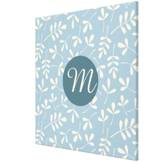Assorted Cream Leaves on Blue Ptn (Personalized) Stretched Canvas Print