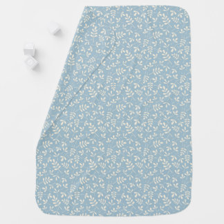 Assorted Cream Leaves on Blue Small Pattern Baby Blanket
