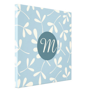 Assorted Crm Leaves on Blue Design (Personalized) Stretched Canvas Print