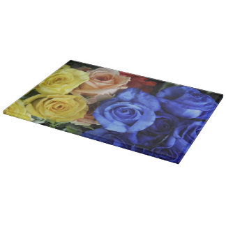 Assorted fresh rose bouquets cutting board