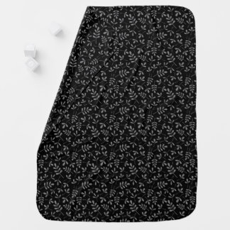 Assorted Gray Leaves on Black Sml Pattern Baby Blanket
