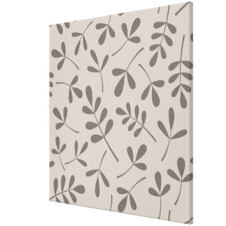 Assorted Leaves Big Pattern Dk on Lt Taupe Canvas Print