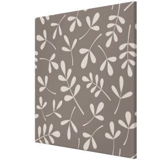 Assorted Leaves Big Pattern Lt on Dk Taupe Canvas Print