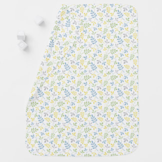 Assorted Leaves Blue Grn Grey Ylw Wt Sml Pattern Baby Blanket
