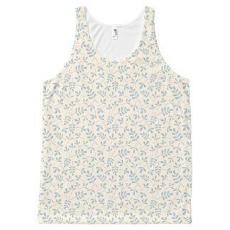 Assorted Leaves Blue on Cream Rpt Pattern All-Over Print Singlet