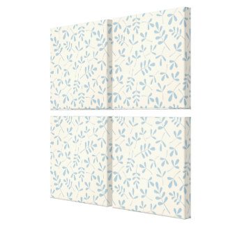 Assorted Leaves Blue on Cream Rpt Pattern Canvas Print