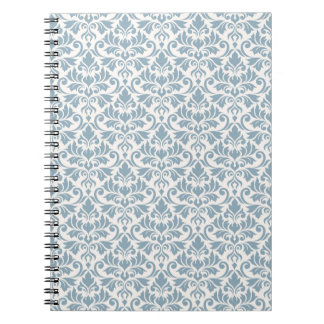 Assorted Leaves Blue on Cream Rpt Pattern Notebook