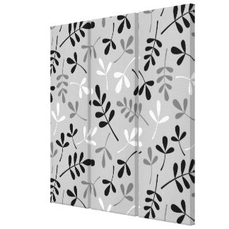 Assorted Leaves Monochrome Big Pattern Gallery Wrap Canvas