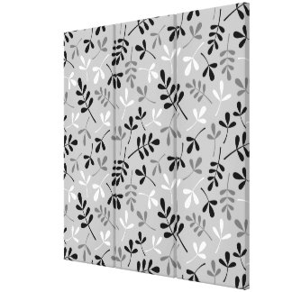 Assorted Leaves Monochrome Pattern Gallery Wrap Canvas