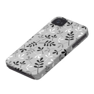 Assorted Leaves Monochrome Pattern iPhone 4 Case-Mate Case