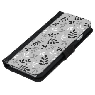 Assorted Leaves Monochrome Pattern iPhone 6 Wallet Case