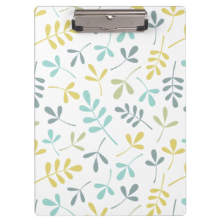 Assorted Leaves Pattern Color Mix on White Clipboard