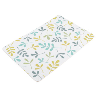 Assorted Leaves Pattern Color Mix on White Floor Mat