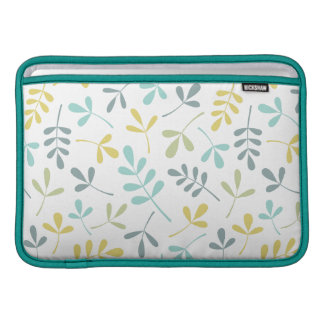 Assorted Leaves Pattern Color Mix on White MacBook Sleeve