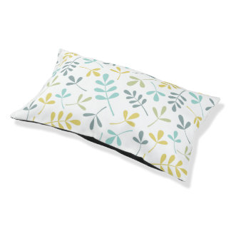 Assorted Leaves Pattern Color Mix on White Pet Bed