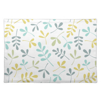 Assorted Leaves Pattern Color Mix on White Place Mats