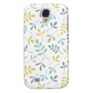 Assorted Leaves Pattern Color Mix on White Samsung Galaxy S4 Covers