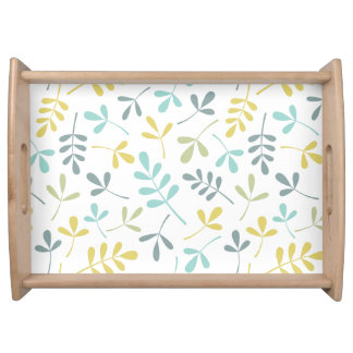 Assorted Leaves Pattern Color Mix on White Serving Tray