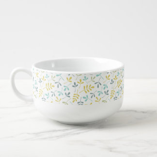 Assorted Leaves Pattern Color Mix on White Soup Mug