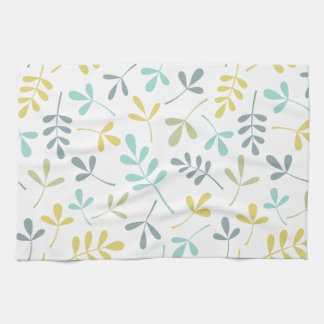 Assorted Leaves Pattern Color Mix on White Tea Towel