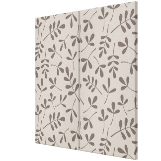 Assorted Leaves Pattern Dk on Lt Taupe Canvas Print