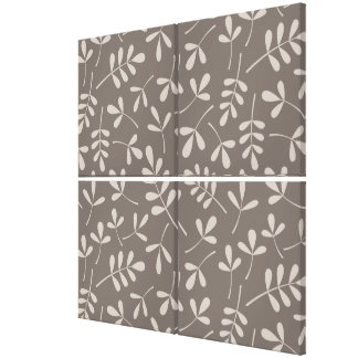 Assorted Leaves Pattern Lt on Dk Taupe Canvas Print
