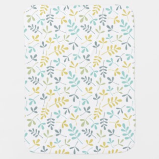 Assorted Leaves Rpt Pattern Color Mix on White Baby Blanket