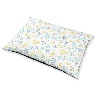 Assorted Leaves Rpt Pattern Color Mix on White Pet Bed