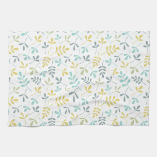 Assorted Leaves Rpt Pattern Color Mix on White Tea Towel