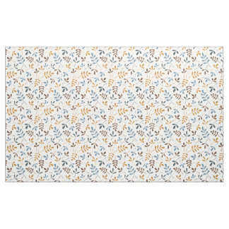 Assorted Leaves Rpt Ptn Blues Brown Gold Cream Fabric