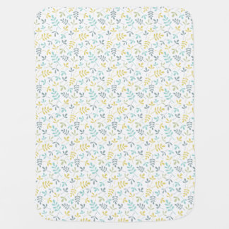 Assorted Leaves Sml Pattern Color Mix on White Baby Blanket